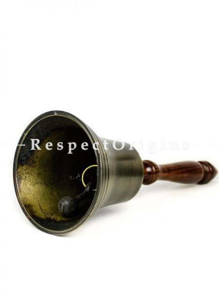 Buy Aluminum Cast Antique Brushed office Brass Bell with Rosewood Handle; Corporate Gifts Bell At RespectOrigins.com