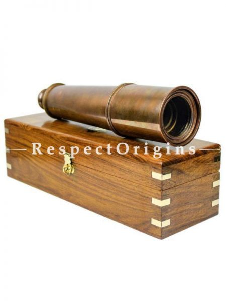 Buy Nautical Decor Pirate Boat Brass Spyglass with Functional Optical Zooms & Genuine Rosewood StoRing Case Anchor Emblem inlaid 32 inches, Vintage Copper At RespectOrigins.com