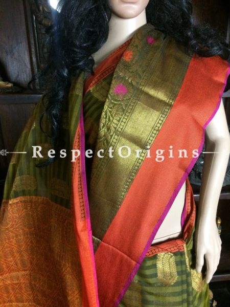 Green-Orange Handwoven Banarasi Cotton Silk Saree; Zari Border & Butis; RespectOrigins.com