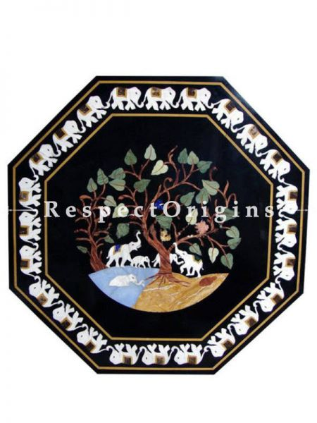 Buy Fabulous Octagonal Black Pietra Dura Marble Table Top With inlay Work; Center Corner Side Coffee Dining Table; 3x3 Feet At RespectOrigins.com