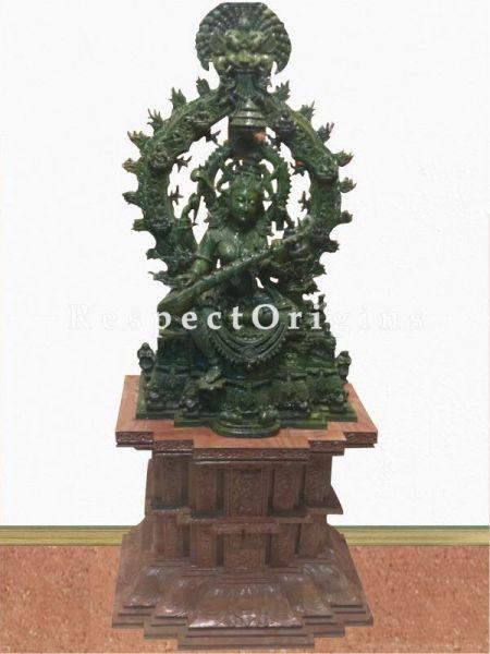 Buy Goddess Saraswati Hand-carved Green Stone Statue; 4 Feet Online at RespectOrigins.com