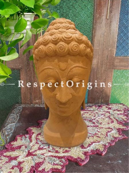 Buy Meditating Buddha Bust Hand-carved in Soft Pink Stone; 16 inches Online at RespectOrigins.com