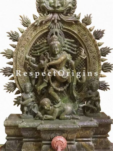 Buy Magnificent Shiv Raja Maheshwara Carved in Green and Pink Marbelled Stone Statue 4 Feet Online at RespectOrigins.com