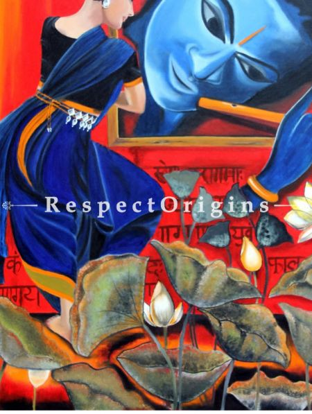 Krishna  Painting - 36In x 48In. Oil On Canvas by Arti Vohra.