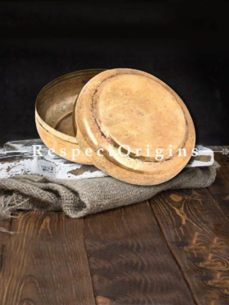 Buy Round Brass Roti Box With Engraved Lid At RespectOrigins.com