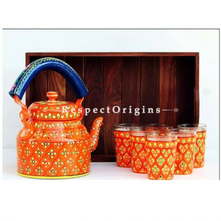 Orange Handpainted Aluminium kettle set with Wooden tray; RespectOrigins.com