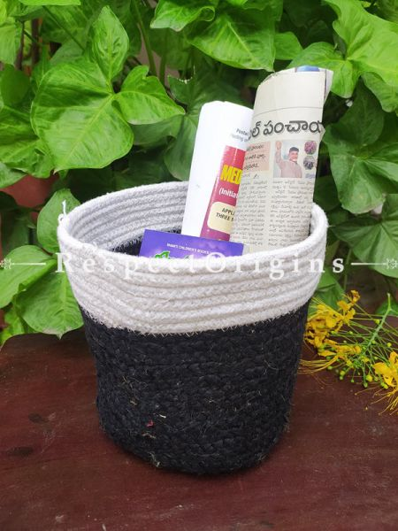 White n Black Stylish Organic Hand-braided Jute Planter, Laundry, Blankets or Toys Basket; 8 Inches; RespectOrigins.com
