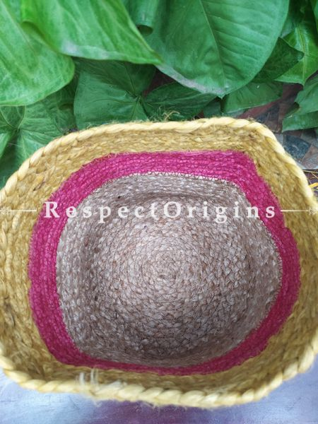 Pink, Yellow and Beige Organic Hand-braided Jute Planter, Laundry, Blankets or Toys Basket; 8 Inches; RespectOrigins.com
