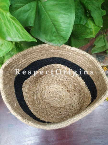 Navy n Beige Stylish Hand-braided Jute Planter, Laundry, Blankets or Toys Basket; 8 Inches; RespectOrigins.com