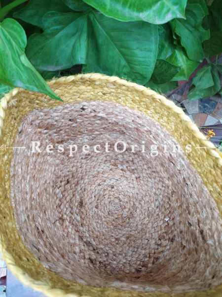 Yellow-rimmed Hand-braided Jute Planter, Laundry, Blankets or Toys Basket; 10 Inches; RespectOrigins.com