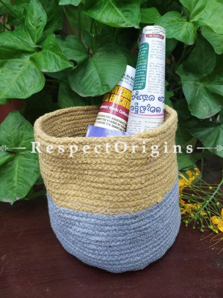 Beige n Powder Blue Stylish Organic Hand-braided Jute Planter, Laundry, Blankets or Toys Basket; 8 Inches; RespectOrigins.com