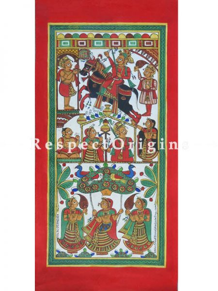 Vertical Folk Art of Rajasthan; Phad Scroll Painting 12x24