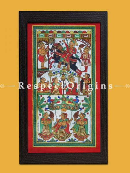 Buy  Folk Art of Rajasthan.Pabbuji ki Phad Scroll Painting 12x24; RespectOrigins.com;RespectOrigins.com