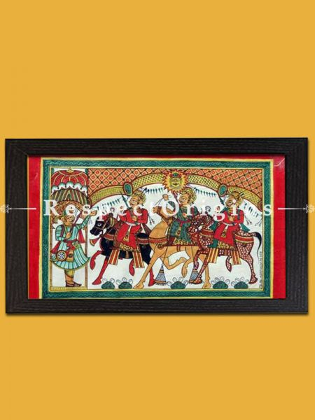 Horizontal Folk Art of Rajasthan; Phad Scroll Painting 24x12
