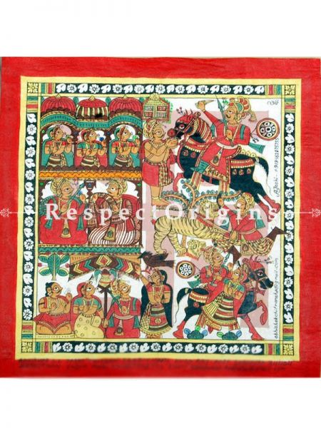 Buy Folk Art of Rajasthan.Pabbuji ki Phad Scroll Painting 12x24;RespectOrigins.com