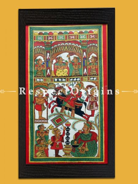 Buy Vertical Folk Art of Rajasthan.Pabbuji ki Phad Scroll Painting 12x24;RespectOrigins.com