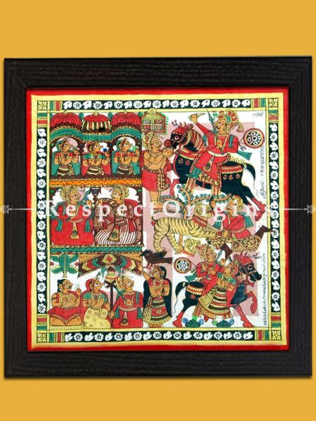 Pabuji on a Black Horse; Folk Art of Rajasthan; Phad Scroll Painting 12x12