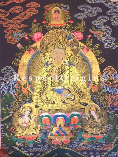 Vertical Thangka Painting of Guru Rimpochhe -Padmasambhava in 30X20 inches On Canvas; Buddhist Traditional Painting Wall Art; RespectOrigins