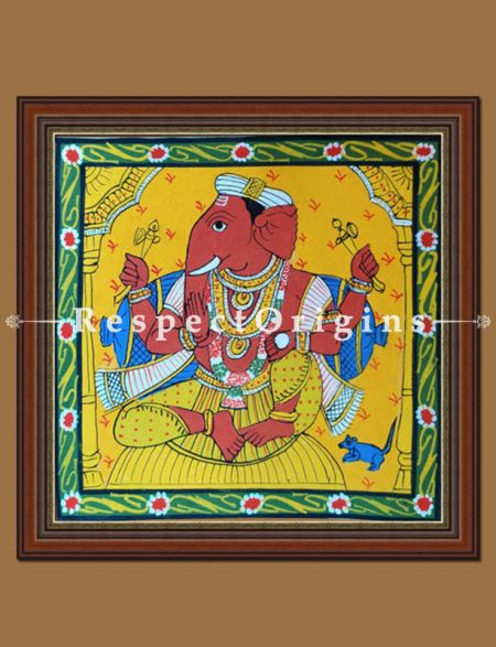 Painted Scrolls of Cheriyal; Ek Danta; Folk Art Square Painting in 8X8 inches; Traditional Painting on Canvas; RespectOrigins