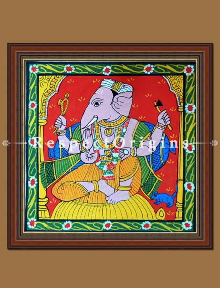 Buy Painted Scrolls of Cheriyal; Graceful Lord Ganesha; Folk Art Square Painting in 8X8 inches; Traditional Painting on Canvas, RespectOrigins