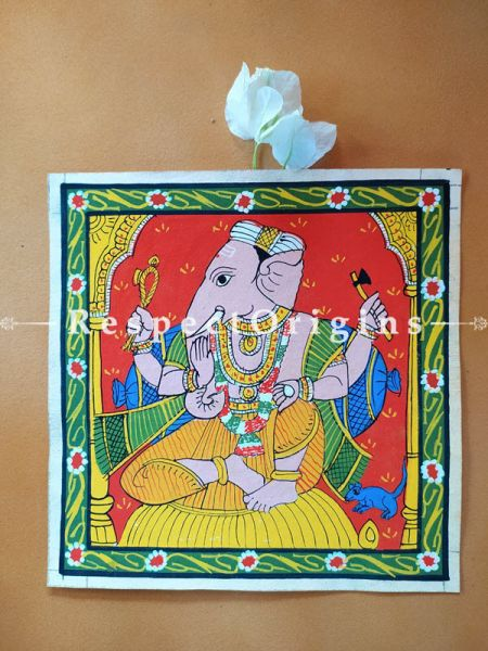 Painted Scrolls of Cheriyal; Graceful Lord Ganesha; Folk Art Square Painting in 8x8 in; Traditional Painting on Canvas
