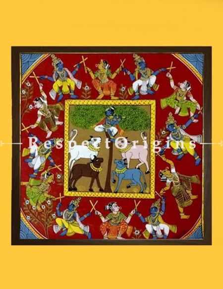 Krishna Kolatam; Painted Scrolls of Cheriyal; Folk Art Square Painting in 18x18 in; Traditional Painting on Canvas