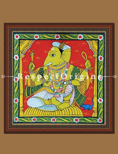 Painted Scrolls of Cheriyal; Lord Ganapati; Folk Art Square Painting in 8X8 inches; Traditional Painting on Canvas, RespectOrigins