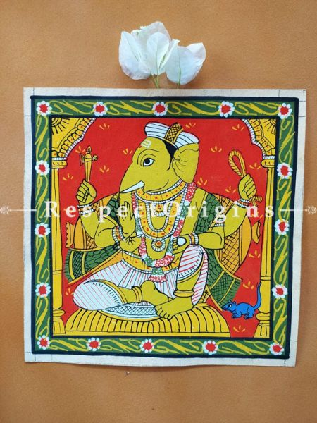 Painted Scrolls of Cheriyal; Lord Ganapati; Folk Art Square Painting in 8x8 in; Traditional Painting on Canvas