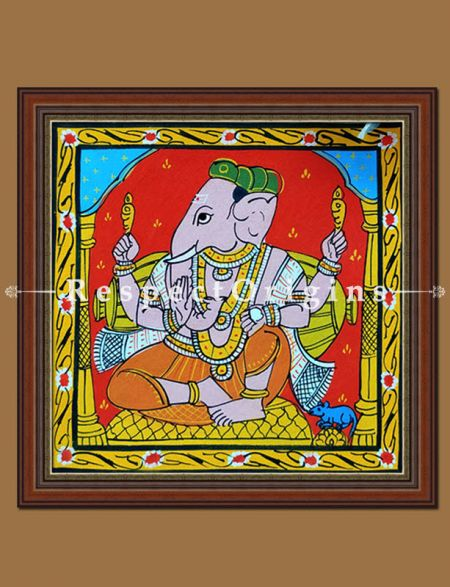 Buy Painted Scrolls of Cheriyal; Lord Ganesha; Folk Art Square Painting in 8X8 inches; Traditional Painting on Canvas, RespectOrigins