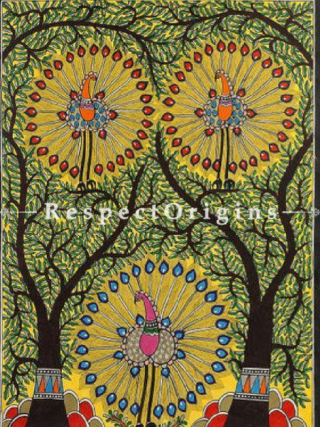 Dancing Peacocks; Madhubani Painting; Paper 30x22