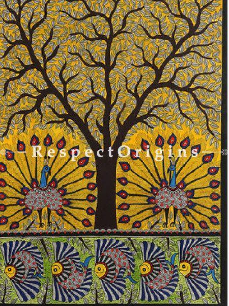 Buy Dazzling Peacocks - Madhubani Painting- Paper 30X22;RespectOrigins