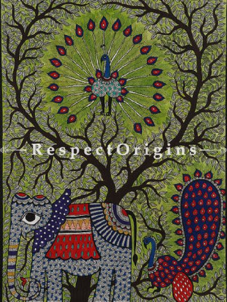 Buy GatheRing of Elephant And Peacock - Madhubani Painting- Paper 30X22;RespectOrigins