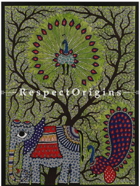 GatheRing of Elephant And Peacock; Madhubani Painting; Paper 30x22