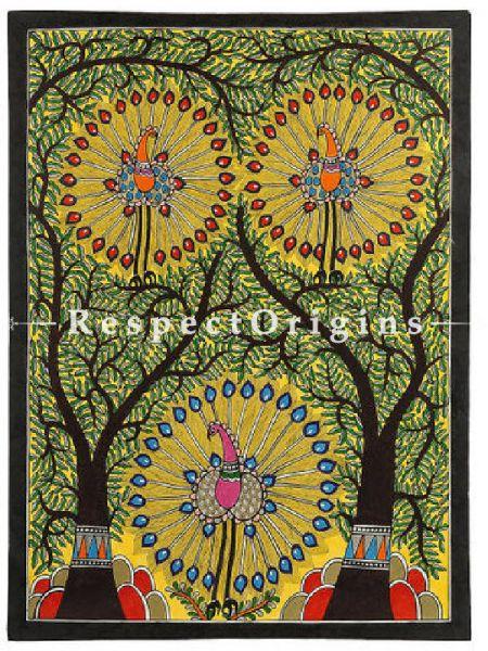 Buy Dancing Peacocks - Madhubani Painting- Paper 30X22;RespectOrigins