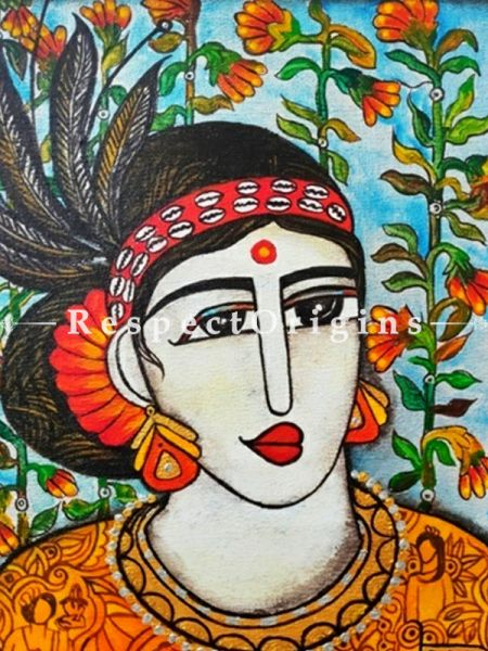 Tribal Women Acrylic on Canvas Original Art Painting; 18x18 Inches