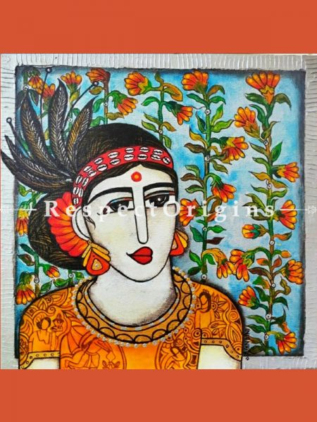 Buy Tribal Women Acrylic on Canvas Original Art Painting 18x18 Inches at RespectOrigins.com
