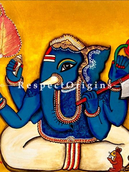 Ekadanta Ganesha Acrylic on Canvas Original Art Painting; 20 X 20 Inches