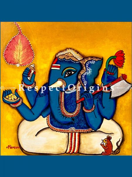 Buy Ekadanta Ganesha Acrylic on Canvas Original Art Painting 20 X 20 Inches at RespectOrigins.com