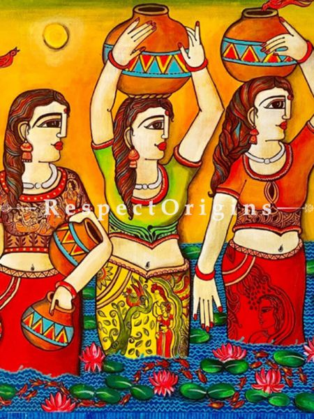 Three Lady Together  Acrylic on Canvas Original Art Painting; 36x36 Inches
