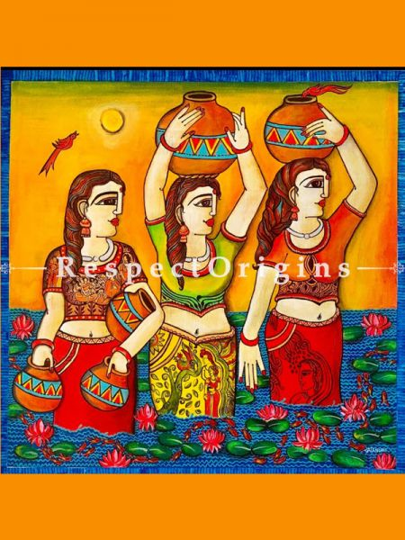 Buy Three Lady Together  Acrylic on Canvas Original Art Painting 36x36 Inches at RespectOrigins.com