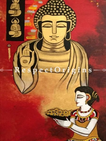 The Buddha as Divine Guru; Acrylic on Canvas Original Art Painting; 56x28 Inches