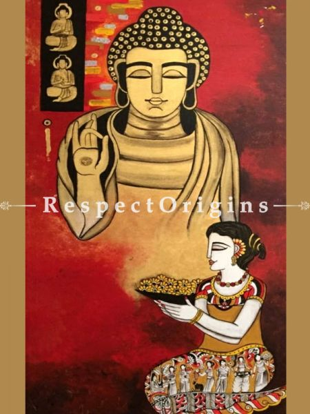 Buy The Buddha as Divine Guru Acrylic on Canvas Original Art Painting 56x28 Inches at RespectOrigins.com