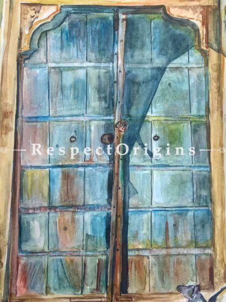 Vintage Door Framed; Water Color On Paper;