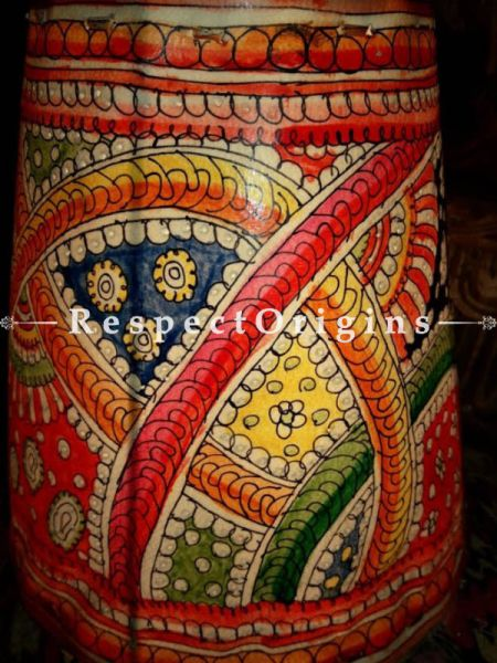 Buy Paisley Designs Painted Cylindrical Hanging  Leather Lampshade; Small; 8 in At RespectOrigins.com