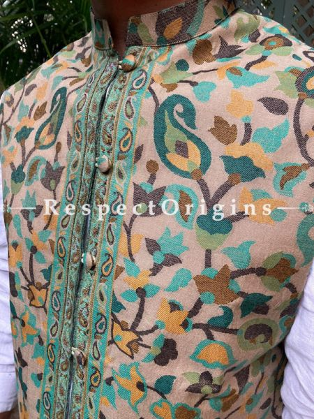 Green Paisley Jamavar Band-gala Nehru Jacket with Cloth-buttons; RespectOrigins.com