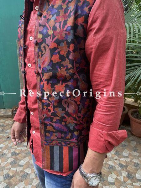 Blue Paisley Jamavar Band-gala Nehru Jacket with Cloth-buttons; RespectOrigins.com