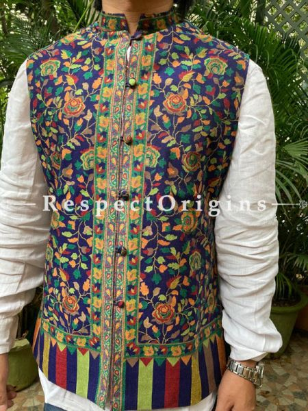 Blue Paisley Jamavar Band-gala Nehru Jacket with Cloth-buttons; RespectOrigins.com