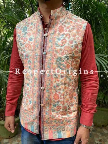 Pale Yellow Paisley Jamavar Band-gala Nehru Jacket with Cloth-buttons; RespectOrigins.com