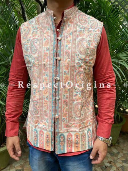 Paisley Jamavar Pale Yellow Band-gala Nehru Jacket with Cloth-buttons; RespectOrigins.com