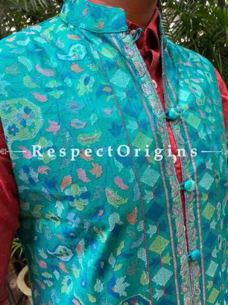 Paisley Jamavar Blue Band-gala Nehru Jacket with Cloth-buttons; RespectOrigins.com